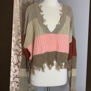 Storia Frayed Hem Colorblock Sweater